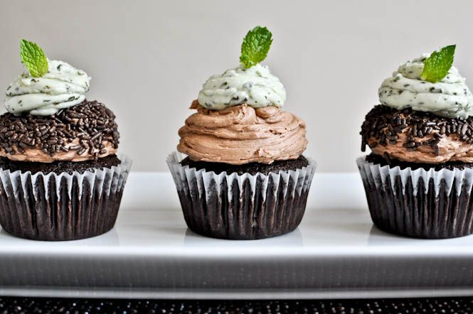 milk chocolate cupcakes with fresh mint frosting.