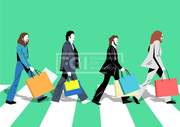 ILL184, 프리진, 일러스트, 패러디, 쇼핑, 이벤트, 세일, 선물, 선물상자, 쇼핑백, 쿠폰, 쇼핑몰, 사은품, 포인트, 할인, 사람, 성인, 풍경, 미소, 웃음, 행복, 즐거움, 캐릭터, 코스튬, 신발, 의상, 의류, 옷, 인물, 유명인, 스타, 전신, 남자, 4인, 백인, 가수, 밴드, 횡단보도, 도로, 안경, 걷고있는, 걷는, 정장, 영국, 딱정벌레, 벌레, 히트곡, 팝, 음악, 예술, 문화, 리버풀, 라이브클럽, 레코드, 장발, 슈퍼스타, 수염, 영국인 #유토이미지