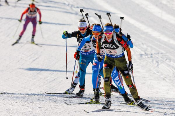 Anais Chevalier of France wins the silver medal during the IBU Biathlon World Championships Mixed Relay on February 9, 2017 in Hochfilzen, Austria.