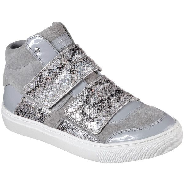 Skechers Women's Side Street - Rocksteady Gray - Skechers ($65) ❤ liked on Polyvore featuring shoes, sneakers, grey, hidden wedge sneakers, grey sneakers, grey high tops, high-top sneakers and grey shoes