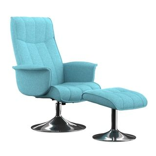 Shop for Portfolio Deane Turquoise Blue Linen Chair and Ottoman . Get free shipping at Overstock.com - Your Online Furniture Outlet Store! Get 5% in rewards with Club O! - 17633134