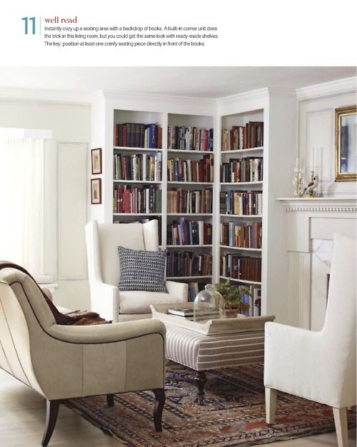 Beautiful built-ins and seating arrangement