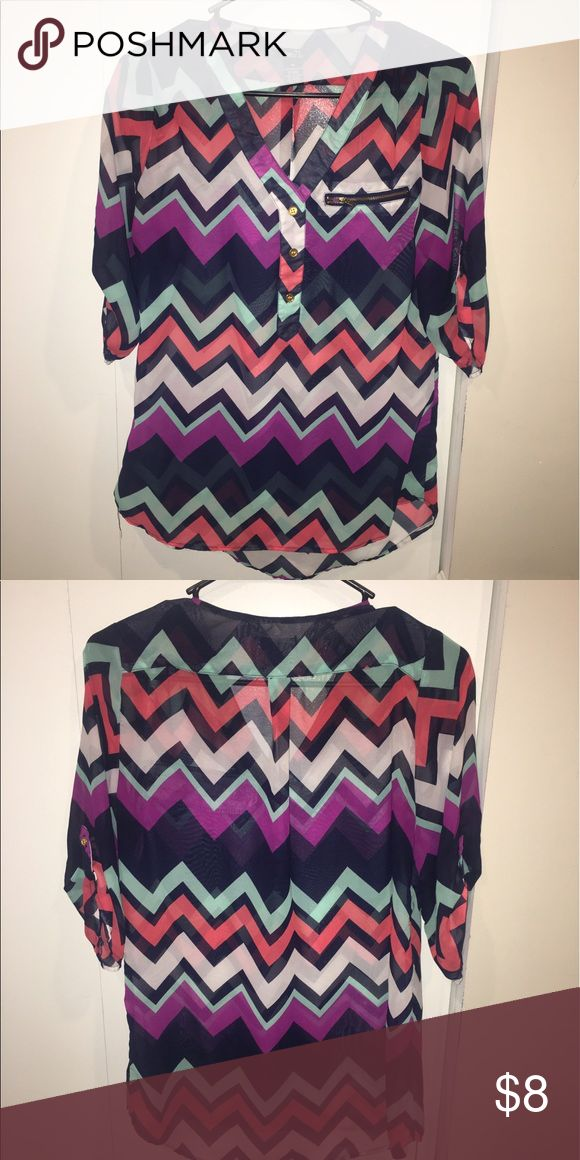 Rue 21 • chevron blouse Rue 21 multicolored chevron blouse. In great condition. Only worn a few times Rue 21 Tops Blouses