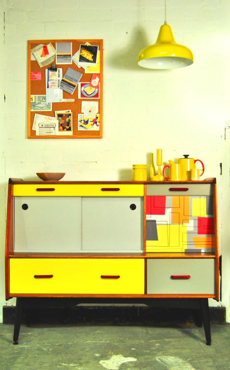 G-Plan creation! Yellow and grey retro upcycled sideboard