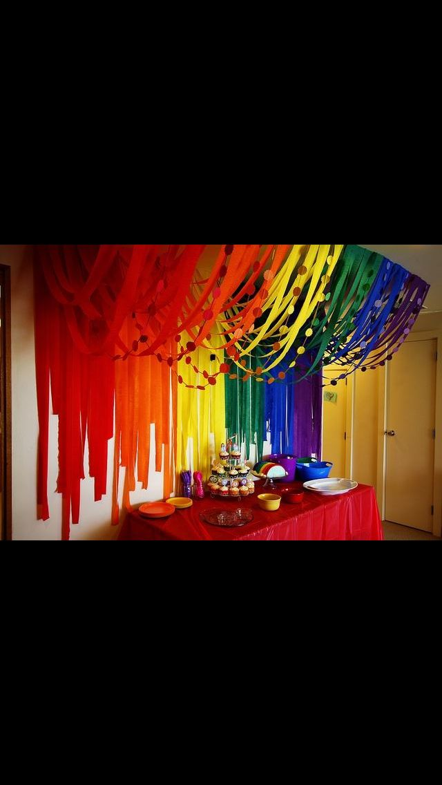 Looks Great Different Colours Maybe Rainbow Parties Art Birthday Party Party Decorations