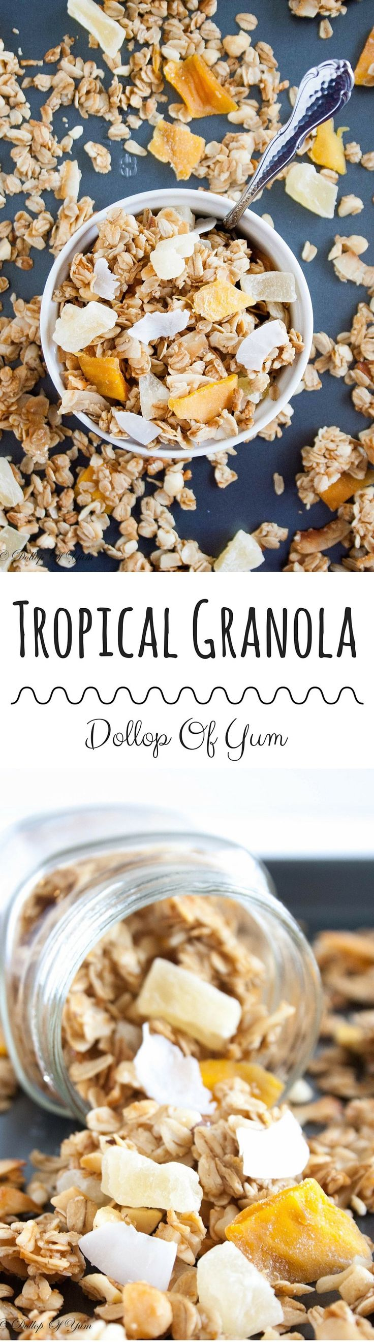 Tropical Granola.  Healthier homemade granola packed with coconut flakes, dried pineapple, and dried mango.  The perfect summer snack!