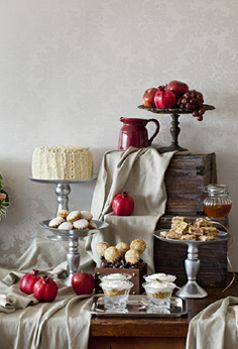 Rosh Hashana sweet table by Petit Gateau inspired by 18th century paintings. Photo by Boaz Lavi for Al Hashulchan magazine