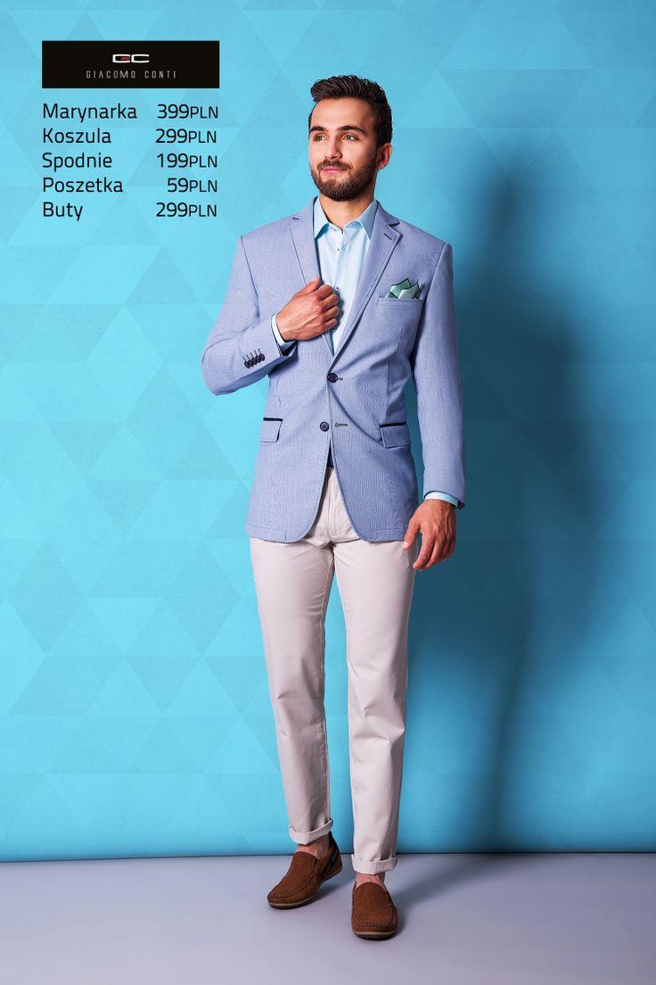Stylizacja casualowa Giacomo Conti: błękitna marynarka Antonio 14/38 SM, jasne spodnie Abramo 14/21 T, błękitna koszula Marco 13/12/31, brązowe mokasyny zl. 2241. #giacomoconti
