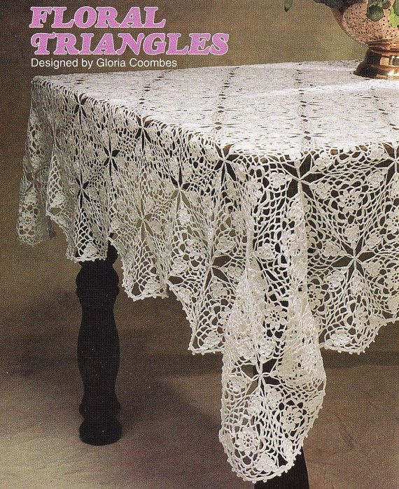 Floral Triangles Tablecloth Crochet Pattern - Rectangular