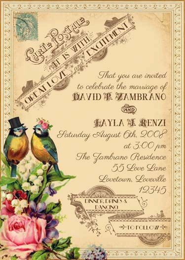 Tallulah - Vintage Victorian Love Birds and Roses - Printable DIY Invitation Suite - Customized Invitation
