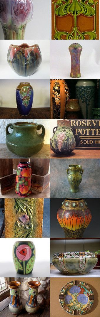 Pottery for the Craftsman Bungalow by allan elliott on Etsy--Pinned with TreasuryPin.com | Art Nouveau | Arts and Crafts | Gouda | Fulper | Moorcroft | CalmWater Designs | Roseville | Weller | Pierrefonds | Royal Doulton | Zsolnay | Royal Stanley | J.H. Barrett and Co. Tile | Matte Green: