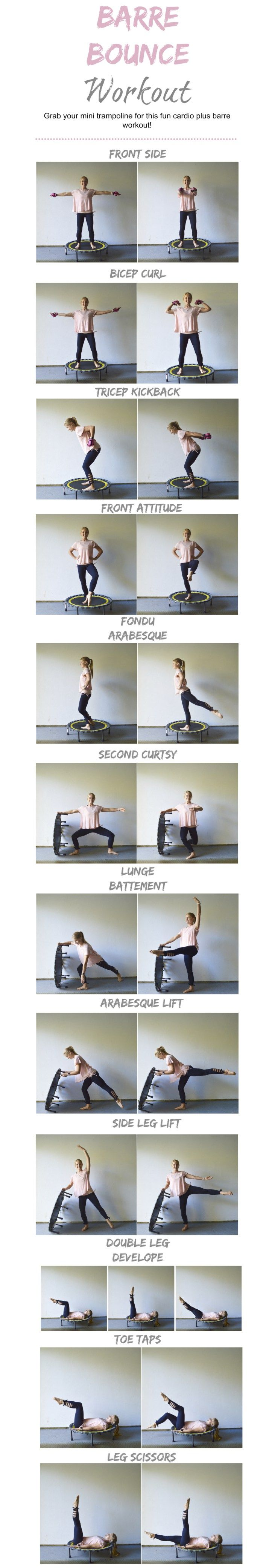 Barre Bounce Mini Trampoline Workout combining cardio and barre! #barre #barrebounce #minitrampoline #workout #barreworkout