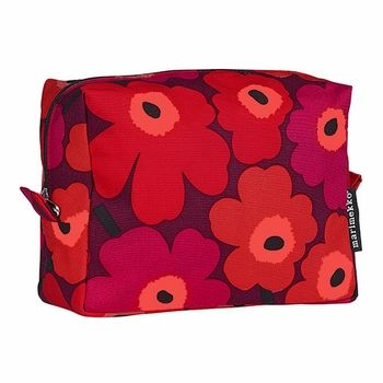 Various shades of red put a strong color on a strong, establish pattern. Marimekko Mini Unikko Red/Burgundy Verso Cosmetic Bag - $69