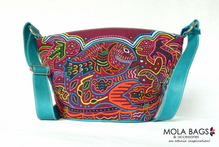 Mittelgroße Umhängetasche aus Leder mit Mola von MOLA-BAGS auf DaWanda.com