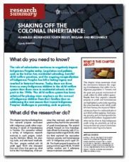 Shaking Off the Colonial Inheritance: Homeless Indigenous Youth Resist, Reclaim and Reconnect - Homeless Hub Research Summary Series  http://homelesshub.ca/resource/shaking-colonial-inheritance-homeless-indigenous-youth-resist-reclaim-and-reconnect#sthash.xzW6ky2p.dpuf