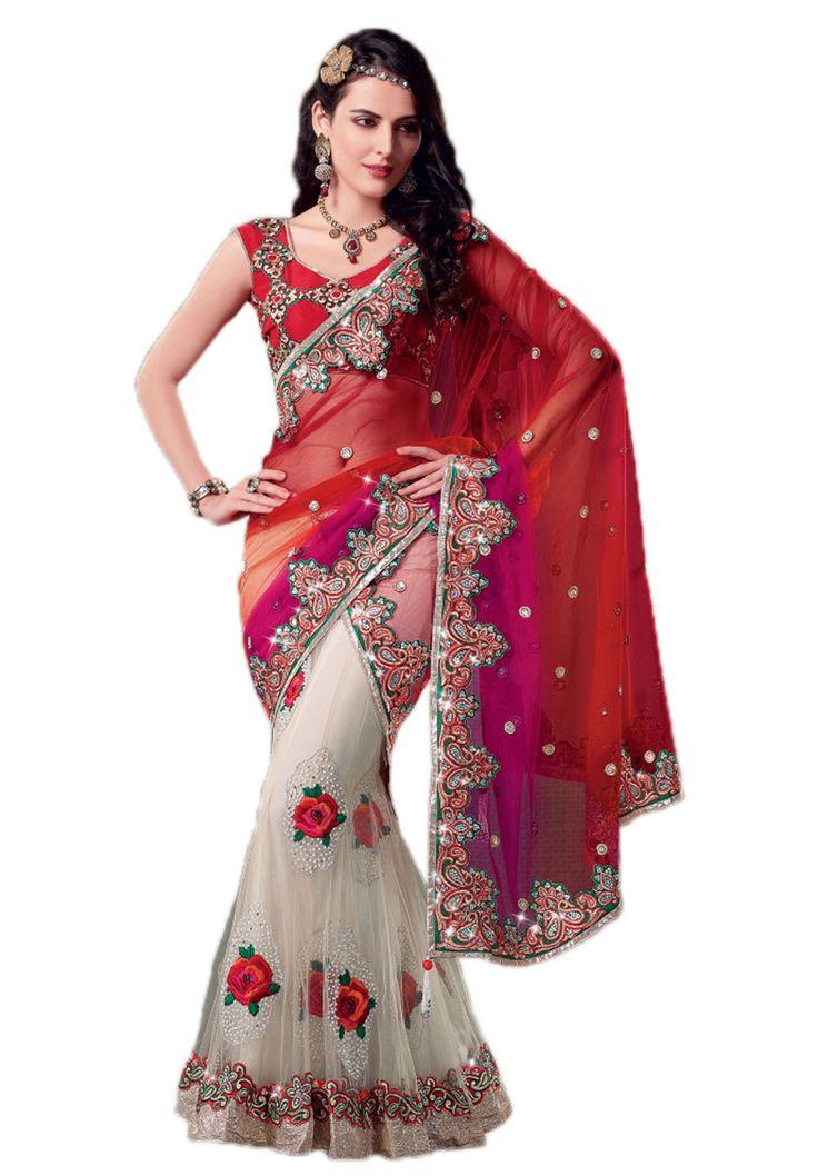 Red Lehenga Style Saree