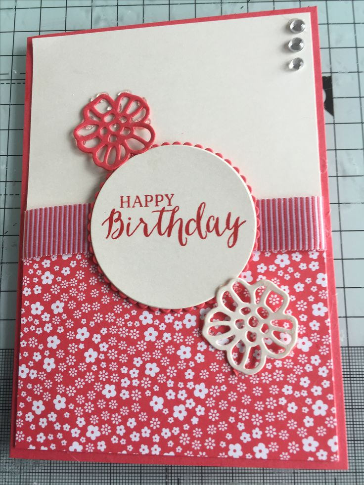 A6 birthday card using Stampin' Up! Watermelon wonder cardstock, striped ribbon, rose garden thinlits, layering circles and rrose garden stamp set.