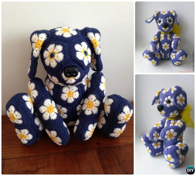 DIY Crochet African Flower Dog Toy Free Pattern--Crochet Amigurumi Puppy Dog… #Crochet, #Toy