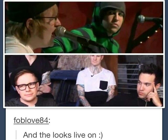 "(Fall Out Boy) The ""I want to cut out your vocal cords and plant them into my own throat"" look."