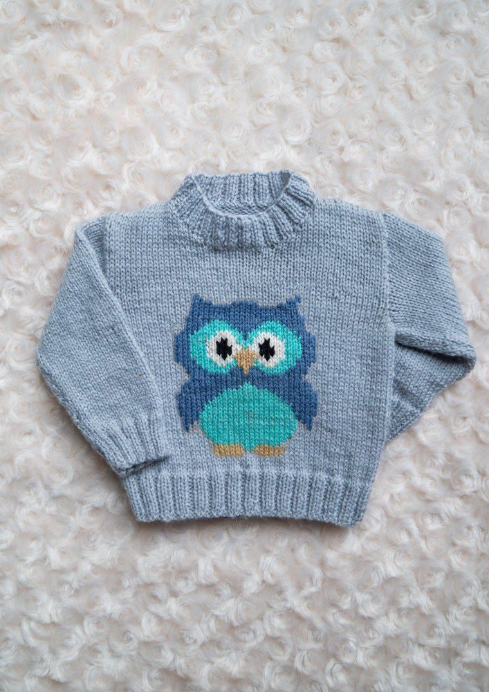 A 4ply sweater with a chubby little owl on the front for ages 0-5 years. Pattern comes with written knitting instructions and knitting chart.Shown in Stylecraft Special 4Ply in Silver (main shade), plus oddments of Denim, Aspen, Camel, White and Black for the Owl.