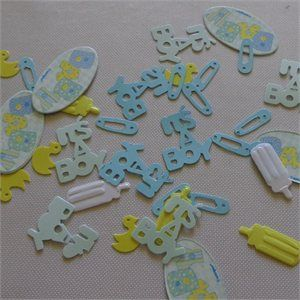 Blue Baby Shower Stitch – Table Scatters   $2.90  This is a 15grm pack and filled with :  Nappy Pins, It's A Boy, Little Ducks and Baby Bottle   scatters •Perfect for Birth Parties •Baby Showers •Christening/Naming Day Celebrations