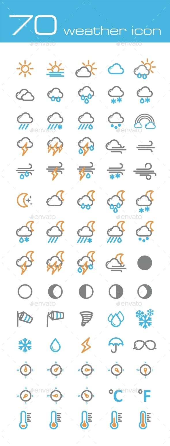 Weather Icons — Vector EPS #umbrella #cold • Available here → https://graphicriver.net/item/weather-icons/10020273?ref=pxcr