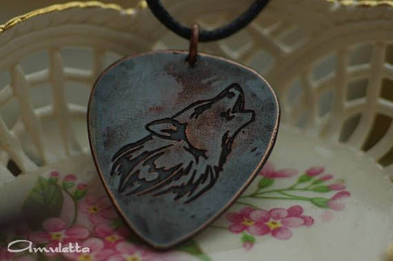 Wolf wolves guitar pick necklace guitar pick jewelry