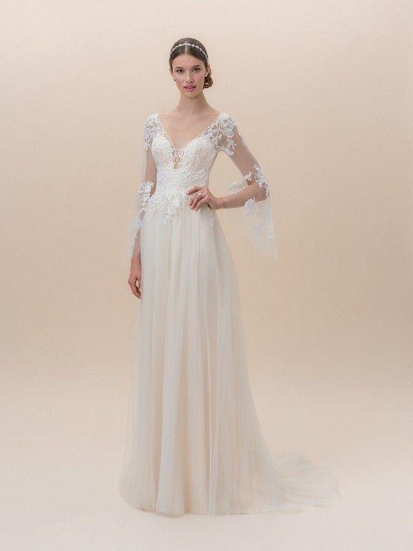 Moonlight Tango T828 Long Bell Sleeve Bohemian Lace Wedding Dress With Y Illusion Inset Neckline Bohowedding Bride Bridal Weddingdress