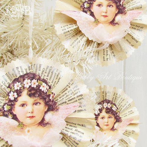 Shabby Art Boutique- Victorian Angel Rosette Ornament Tutorial & Free Graphic Download