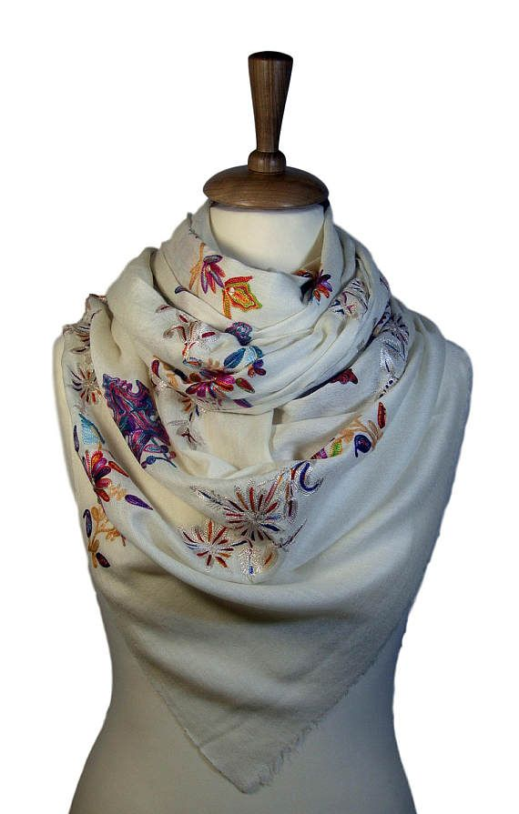 White Cashmere Pashmina Scarf with multicolor embroidery from