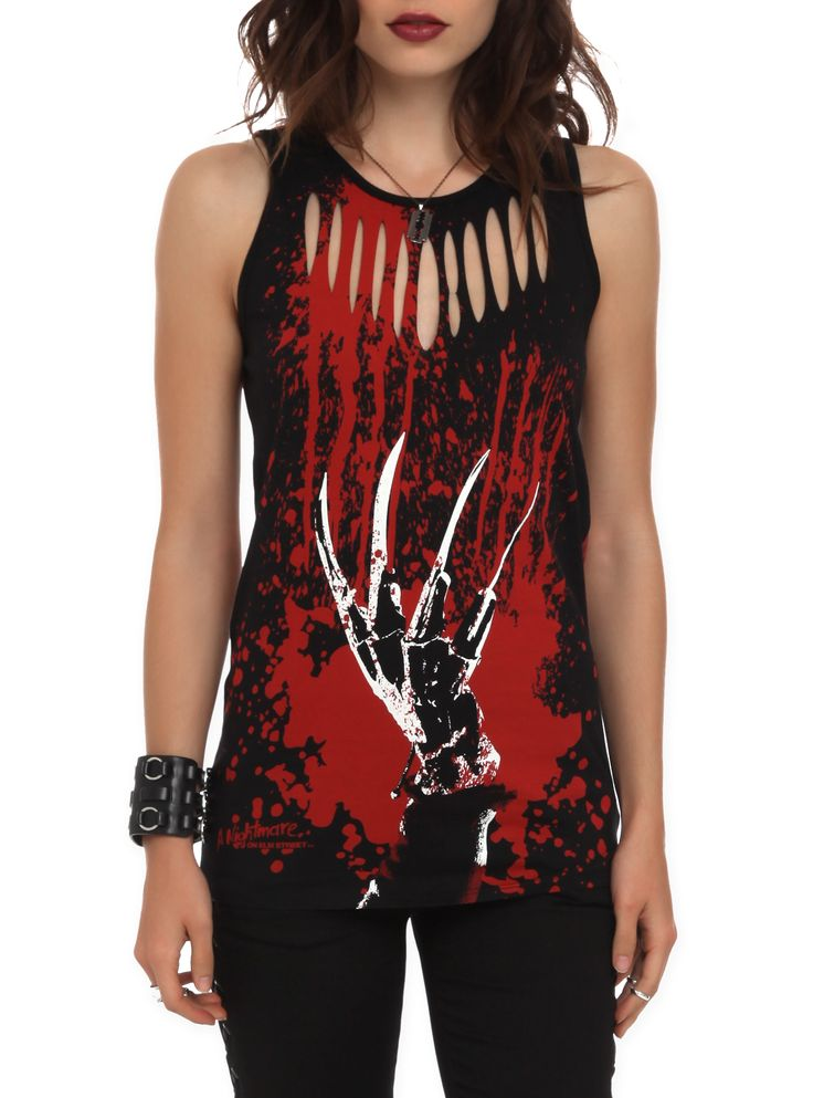 Tank top with a slashed and splattered Freddy Krueger glove design on the front and sweater print on the back.