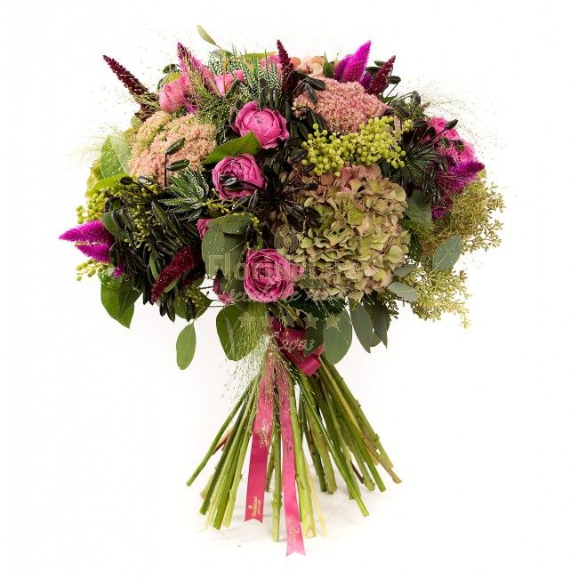 mazing bouquet in shades of pink, green and deep purple. Vintage hydrangea, fluffy celosia, miniroses misty bubbles and succulent plants come together PERFECTLY in this floral masterpiece