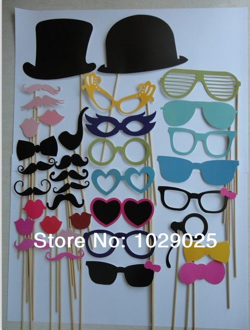 36PCS Mustache Colorful Props On A Stick Mustache Photo Booth Party Fun Wedding Christmas Birthday Favor