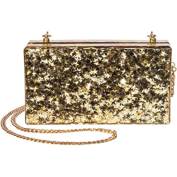 Blue Banana Star Gold Glitter Box Clutch Bag, Handbags and Purses UK ($49) ❤ liked on Polyvore featuring bags, handbags, clutches, hand bags, gold clutches, gold box clutch, purse clutches and hardcase clutch