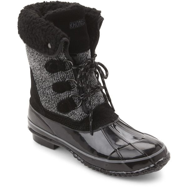Khombu Black Jilly Snow Boots ($40) ❤ liked on Polyvore featuring shoes, boots, black, mid-calf boots, black snow boots, khombu boots, black low heel boots, calf length boots and black lace up boots