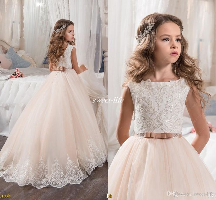 Custom Made Flower Girl Dresses for Wedding Blush Pink Princess Tutu Sequined Appliqued Lace Bow 2017 Vintage Child First Communion Dress Flower Girl Dresses Cheap Girl's Pageant Dresses Online with 88.0/Piece on Sweet-life's Store | http://DHgate.com