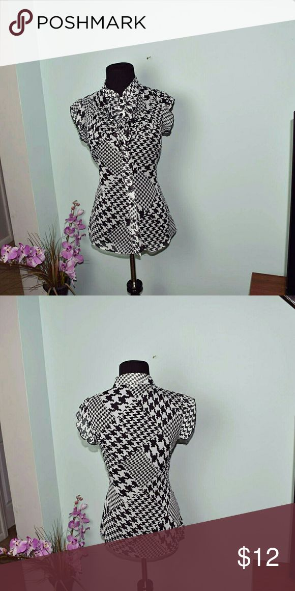 Beautiful Black & White Chevron Blouse In excellent condition. Absolutely beautiful. Tops Blouses