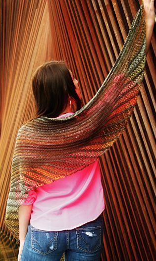 Nymphalidea shawl knit in Malabrigo Sock and Schoppel Wolle Zauberball Crazy >> Knitty Deep Fall 2013   #freepattern #knitting