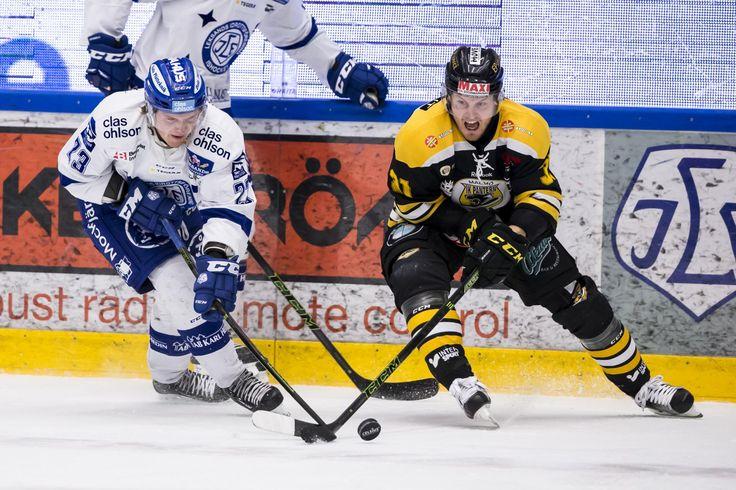 Leksands Viktor Amnér and Panterns Emil Sandin, HockeyAllsvenskan 2015-16 FIGJAM
