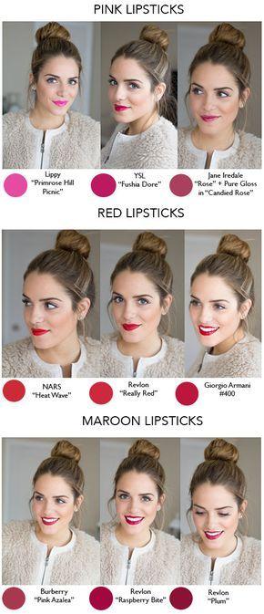 Nuances de rouge à lèvres lipstick shades