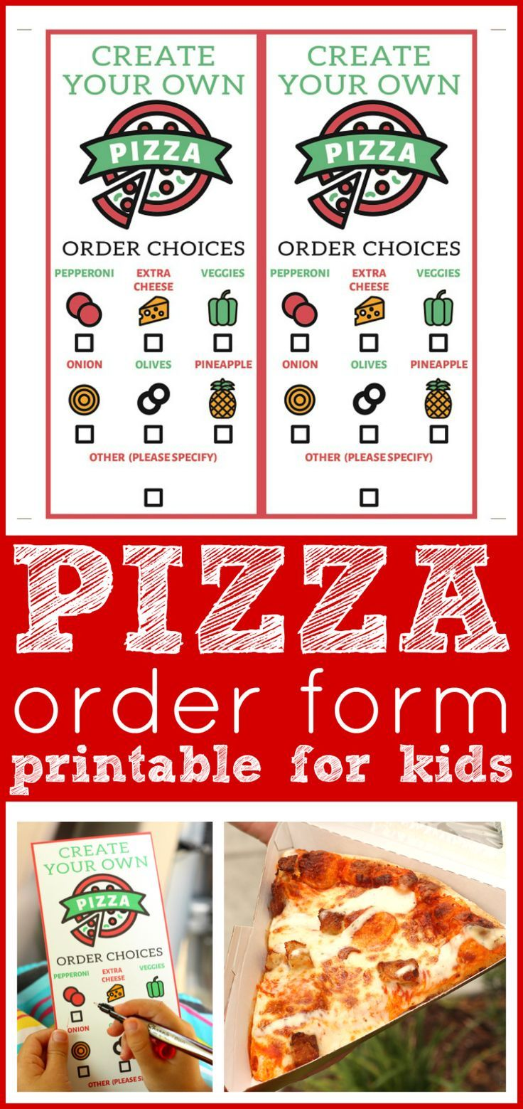 Free Pizza Order Form Printable Lunch Date With Daddy Pizza