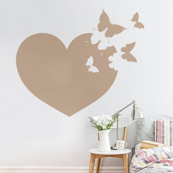 Vinilo decorativo de pared de un bonito coraz n con for Vinilos mariposas