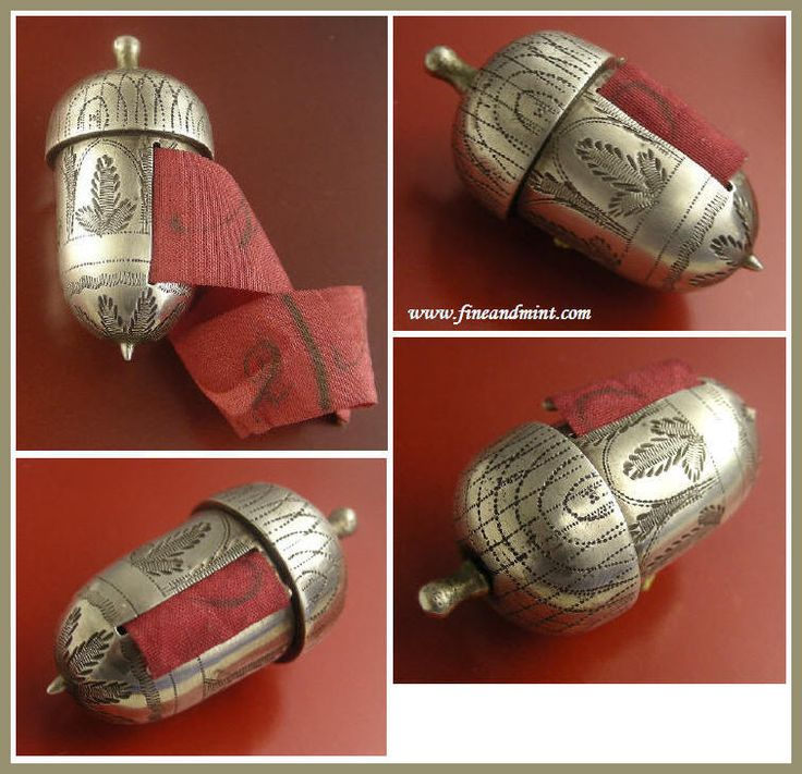 Rare and gorgeous tape measure modeled as an acorn is made of sterling silver and dates to the late 18th century/ very early 19th cent.