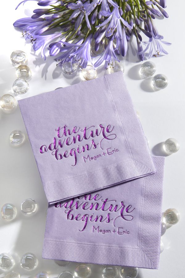 "These adorable personalized ""The Adventure Begins"" wedding napkins are sure to capture the attention of your guests. Customize to match your party theme at ForYourParty.com."