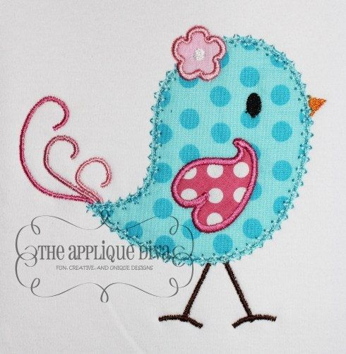Spring Bird Applique Shirt or Onesie  Personalized Embroidery #rockinthetutu #birdappliqueshirt