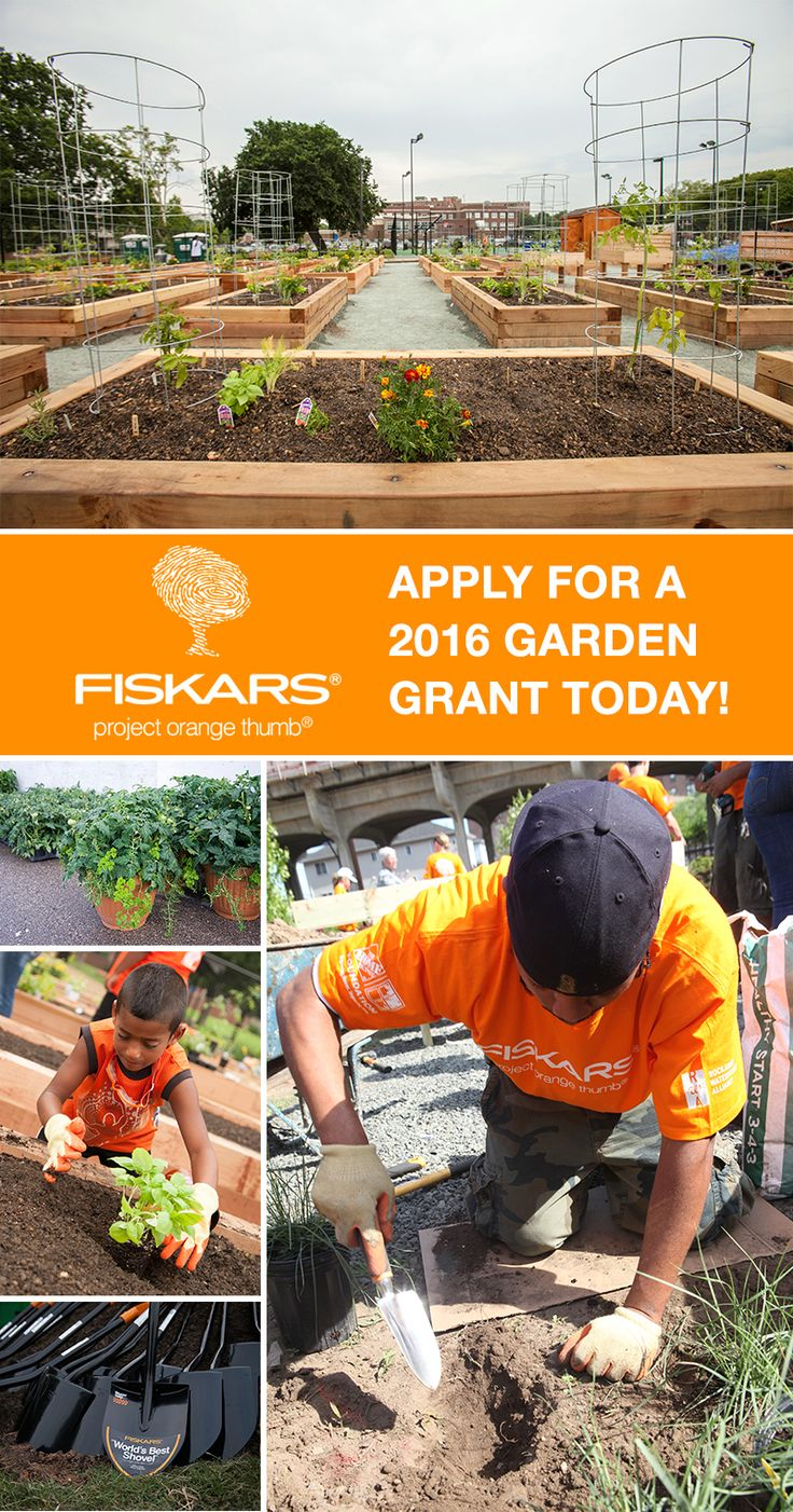 A community garden is just one way to strengthen a community. Learn more about Fiskars' Project Orange Thumb grant program and apply for a garden grant today! Recipients are provided tools and resources to help their communities reach their community garden goals. To learn more or to apply for the grant, visit http://www2.fiskars.com/Community/Project-Orange-Thumb?utm_source=Pinterest&utm_medium=Pin%20Description&utm_content=1.25.16%20POT&utm_campaign=Hiebing%20Social