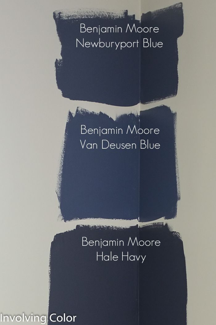 Benjamin Moore navy blue paint color ideas http://involvingcolor.com/blog/choosing-a-navy-paint-color/