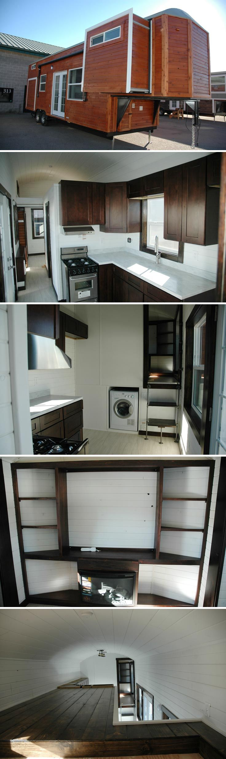 A 35' long, 320 sq.ft. gooseneck tiny house with three slide outs.