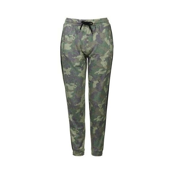 TopShop Petite Camo Print Joggers ($44) ❤ liked on Polyvore featuring activewear, activewear pants, khaki, petite activewear, topshop, petite activewear pants and petite sportswear