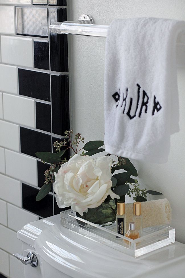 Bathroom Styling / Lucite Towel Rod & Tray